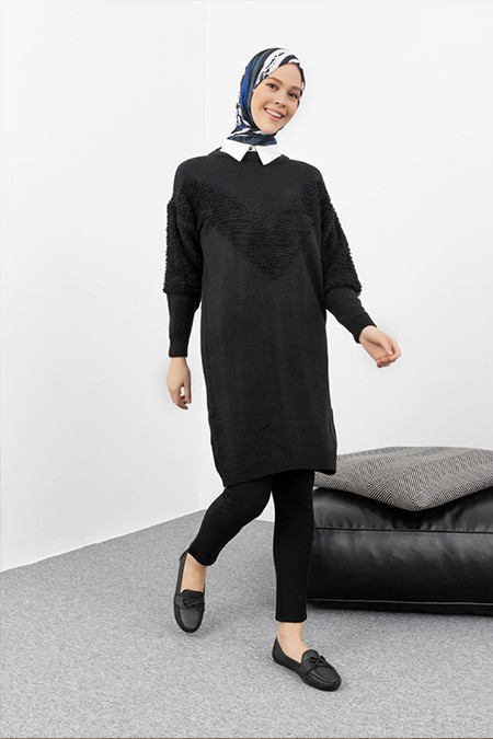 Por La Cara Siyah T Kol Uzun Triko Tunik