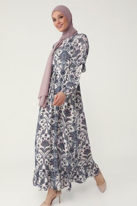 Refka Lila Doğal Kumaşlı Fırfır Detaylı Çiçek Desenli Elbise