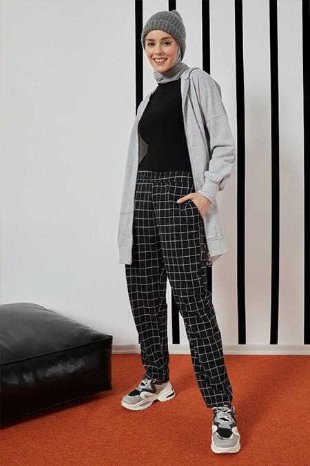 Tofisa Siyah Kareli Pantolon