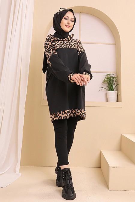 Tofisa Siyah Leopar Detaylı Tunik