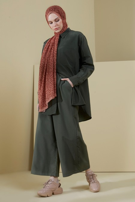 Normcore Haki Pamuklu Doğal Kumaş Tunik Pantolon Takım