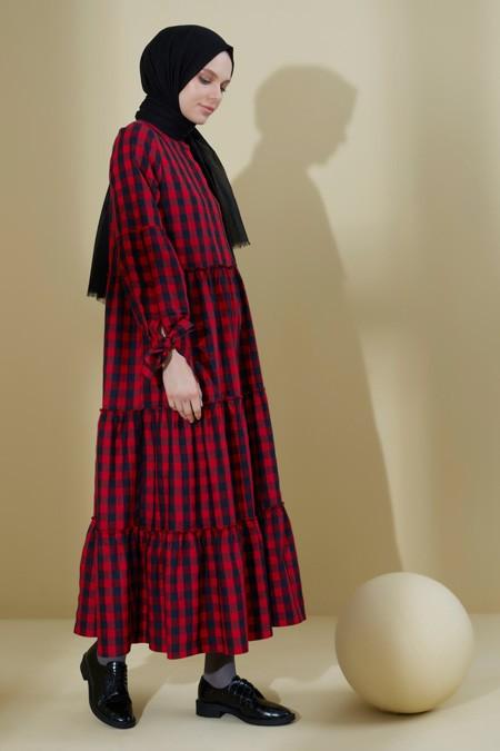 Normcore Kaşmir Kolu Bağlamalı Pötikare Elbise