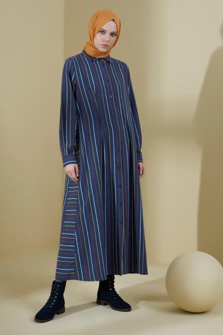 Normcore Renkli Çizgili Kışlık Doğal Kumaş Elbise