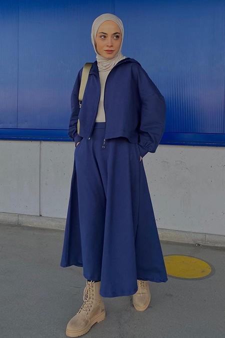 İnşirah Lacivert Kapüşonlu Tunik&Etek İkili Takım