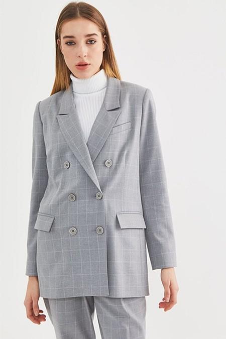 Kayra Gri Ekose Blazer Ceket