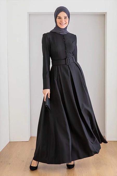 LOREEN Siyah Kemer Detaylı Elbise