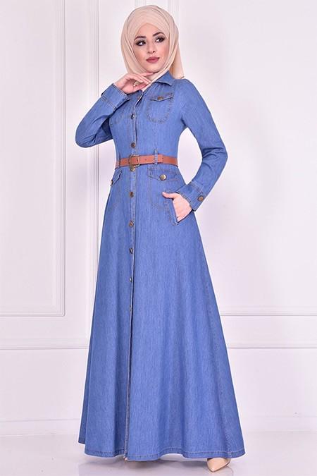 Modamerve Mavi Kemerli Elbise