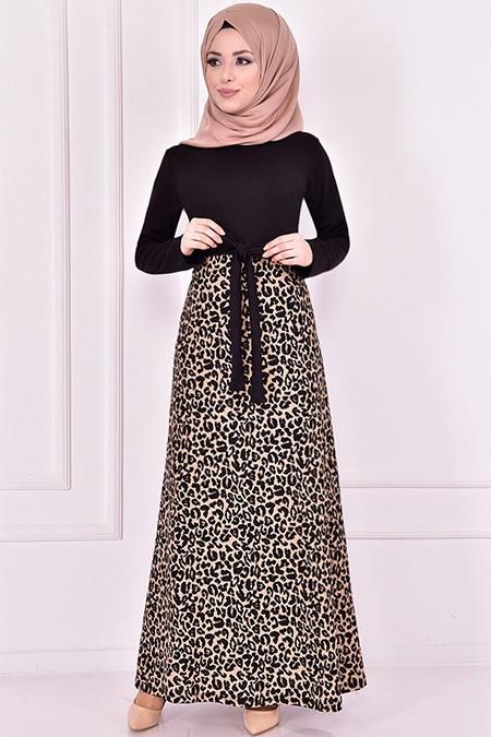 Modamerve Siyah Leopar Desenli Elbise