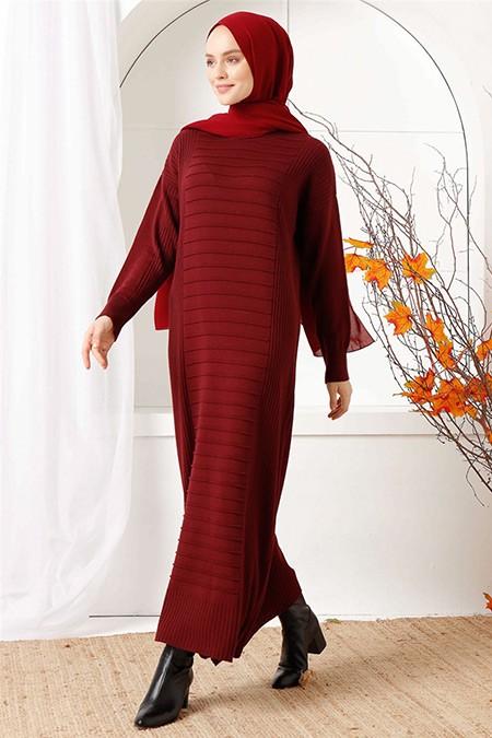 İnşirah Bordo Çizgili Triko Elbise