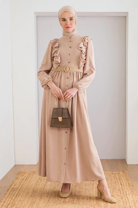 LOREEN Bej Fırfır Detaylı Elbise