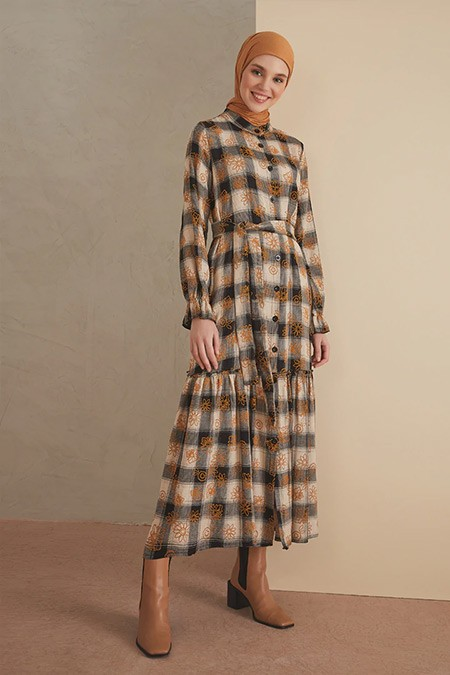 LOREEN Hardal Desenli Elbise