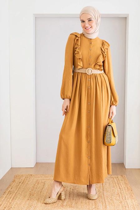 LOREEN Taba Fırfır Detaylı Elbise