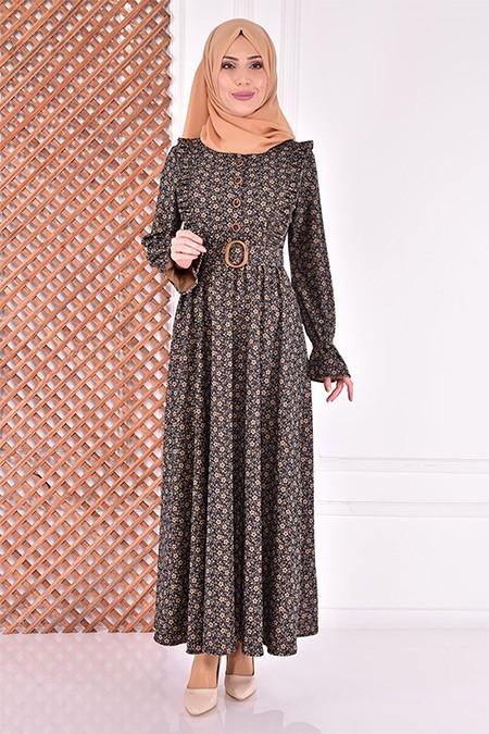 Modamerve Lacivert Kemerli Elbise