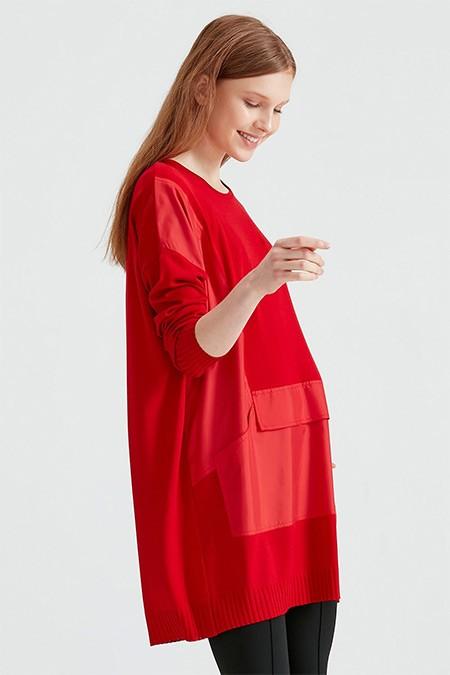 Tığ Triko Kırmızı Kumaş Cep Detaylı Triko Tunik