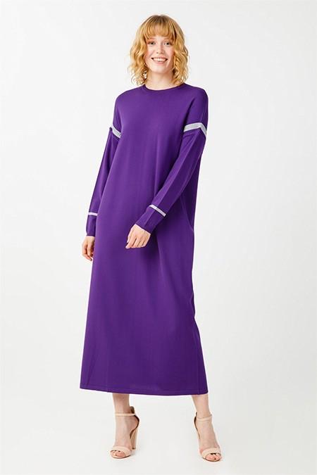 Tığ Triko Mor Çizgi Detaylı Rayon Elbise