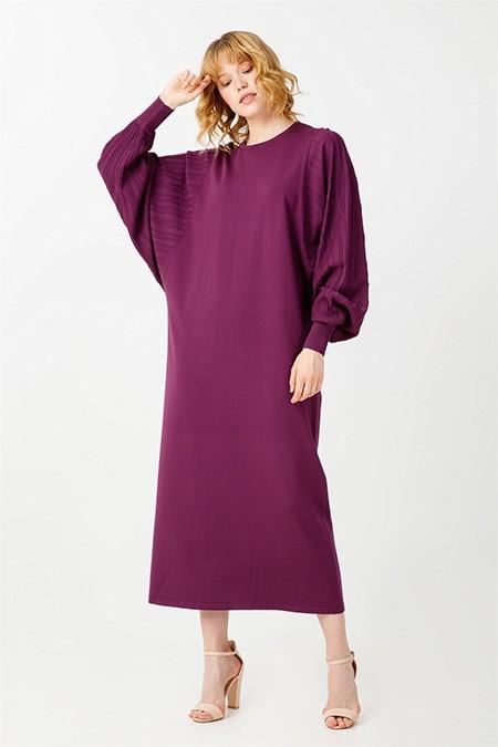 Tığ Triko Mor Balon Kollu Rayon Elbise
