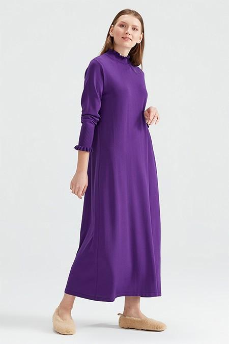 Tığ Triko Mor Denver Fırfırlı Rayon Elbise