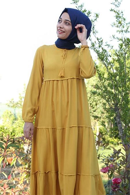 Bigdart Sarı Yaka Bağcıklı Tesettür Elbise