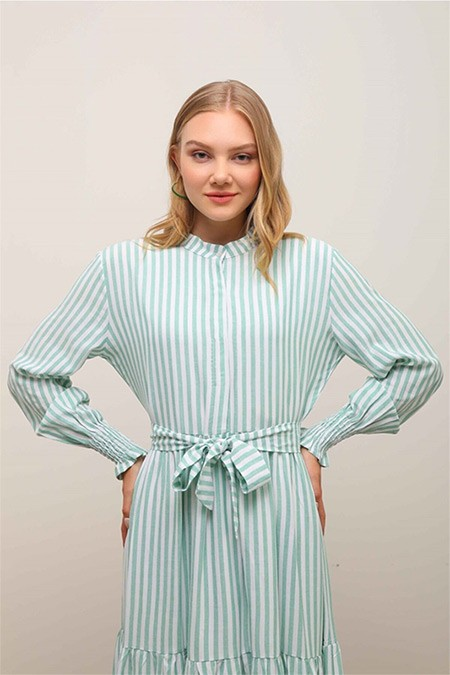 Ebu Prive Yeşil Urban Çizgili Elbise