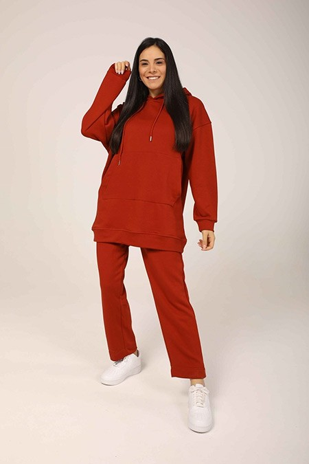 Ebu Prive Kiremit Kapüşonlu Sweatshirt Normal Paça Eşofman Takım