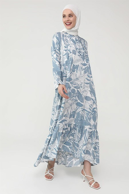 Refka Casual Mavi Nervür Detaylı Kolu Volanlı Yaprak Desenli Elbise