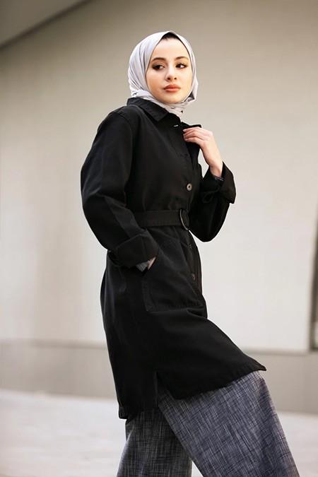 Refka Casual Siyah Doğal Kumaşlı Kemerli Kot Ceket