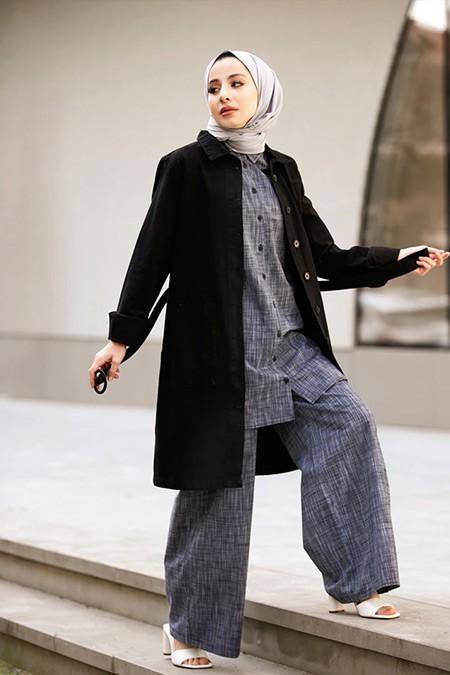 Refka Casual Siyah Doğal Kumaşlı Keten Görünümlü Rahat Pantolon