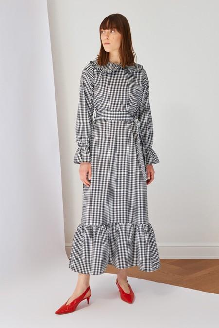 Trendyol Modest Siyah Yaka Detaylı Kareli Elbise