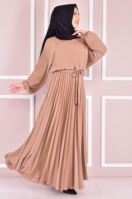 Modamerve Vizon Kuşaklı Elbise