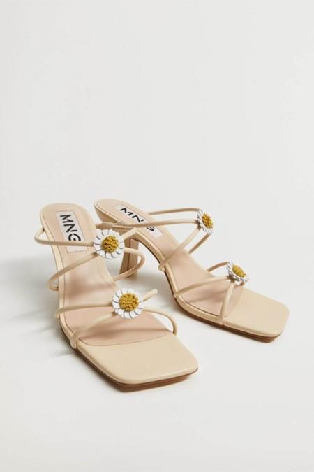 Mango Kadın Bej Topukları Çiçekli Deri Sandalet