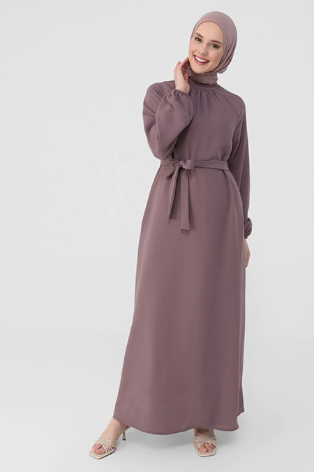 Refka Mor Dik Yaka Kemer Detaylı Elbise