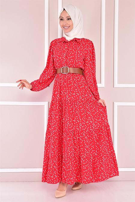 Modamerve Kırmızı Kemerli Elbise