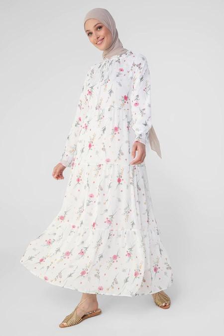 Refka Beyaz Yakası Bağlamalı Rahat Kesim Şifon Elbise