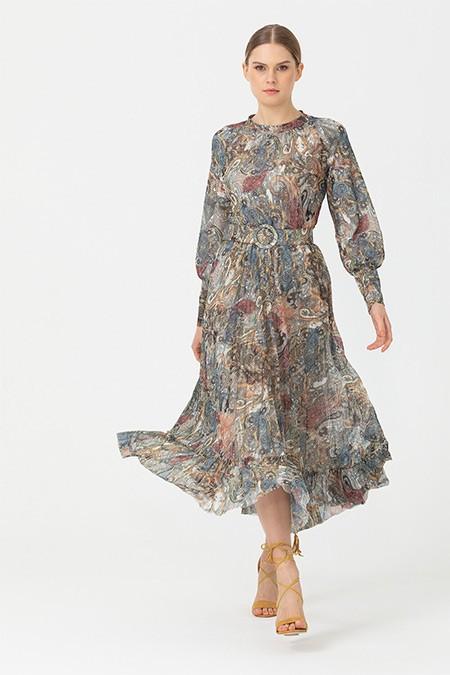 Seçil Haki Şal Desenli Eteği Pliseli Elbise