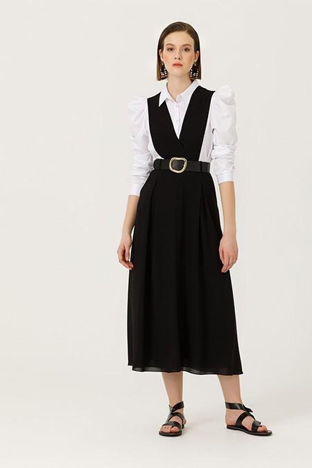 Seçil Siyah Kemerli Jile Elbise