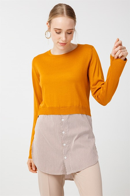 Tığ Triko Hardal Çizgili Gömlek Detaylı Triko Tunik