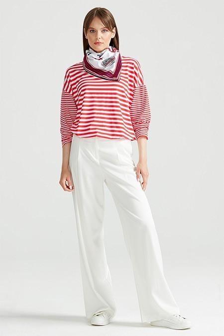 Tığ Triko Kırmızı Çizgili Düşük Kol Tunik