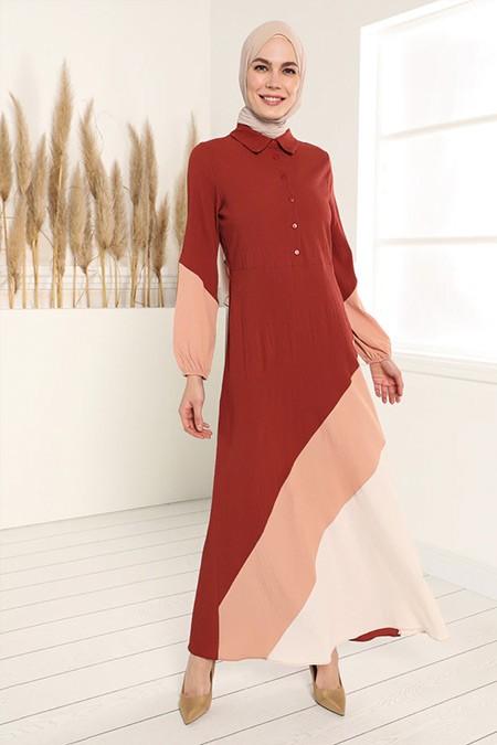 Tavin Kiremit Somon Bej Color Blok Elbise