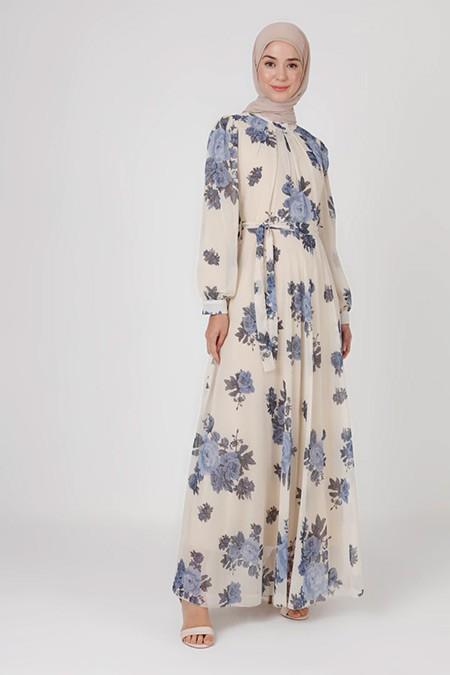 Bürün İndigo Çiçek Desenli Elbise