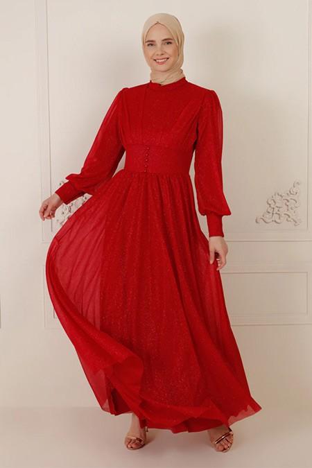 Bürün Bordo Simli Düğme Detaylı Abiye Elbise
