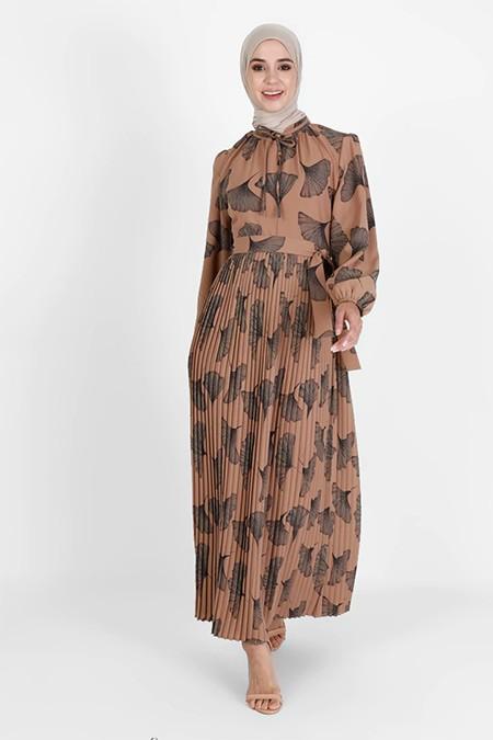 Bürün Hardal Desenli Elbise