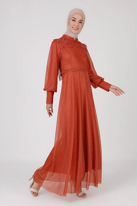 Bürün Kiremit Boncuk Detaylı Simli Abiye Elbise