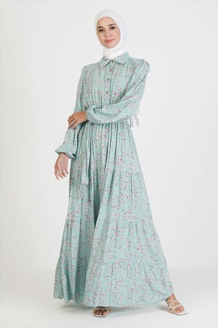 Bürün Mint Çiçek Desenli Elbise