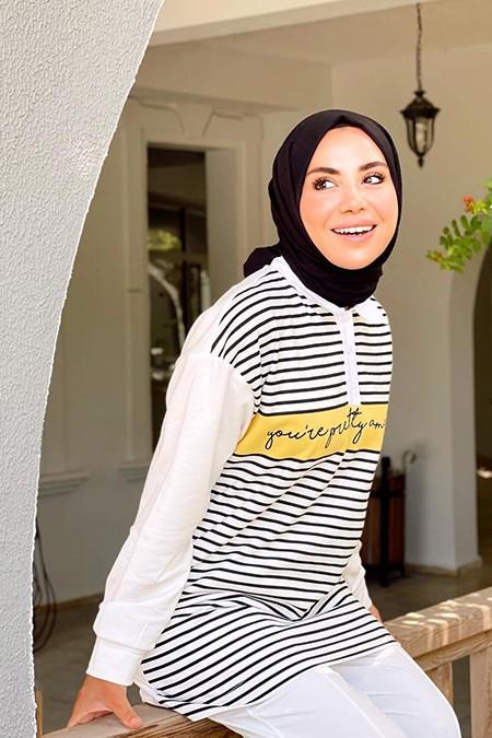 Basicpark Ekru Amazing Baskılı Gömlek Yaka Oversize Sweatshirt