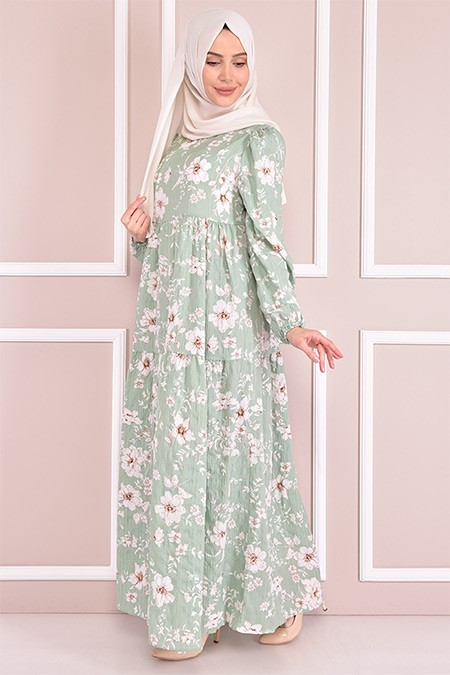 Modamerve Mint Çiçek Desenli Elbise