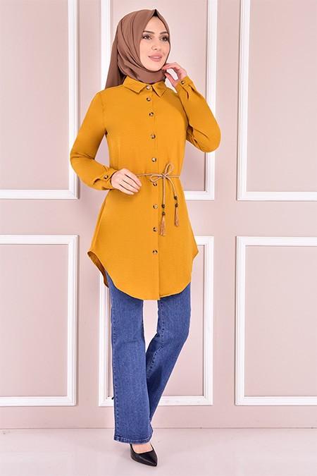 Modamerve Sarı Kuşaklı Tunik