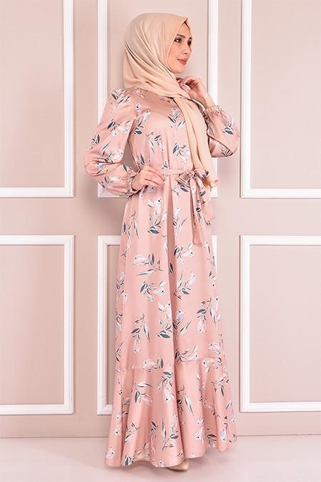 Modamerve Vizon Saten Elbise