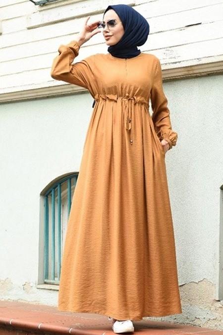 Neways Camel Süs Bağcıklı Krep Elbise