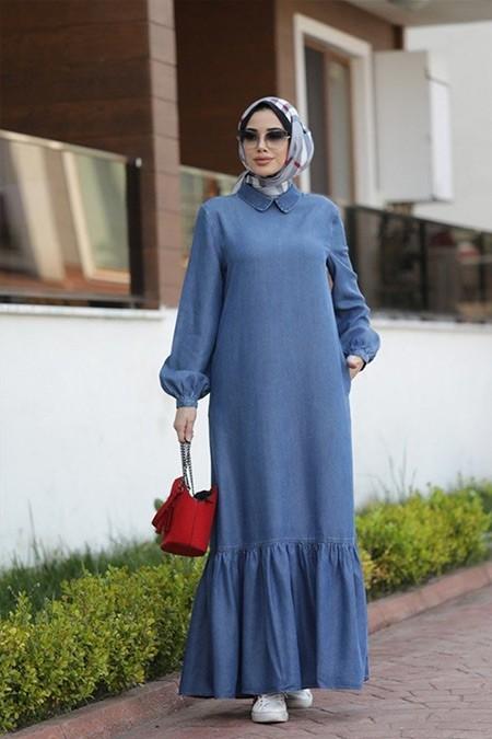Neways Koyu Mavi Alt Fırfırlı Elbise