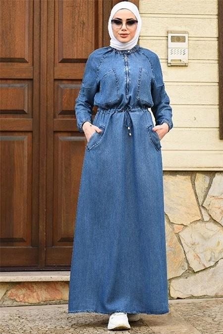 Neways Koyu Mavi Reglan Kollu Cepli Elbise